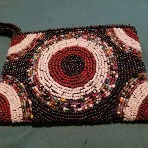 """Handbags - Beaded coin purse 5.5"""" x 4"""" zippered top clutch"""